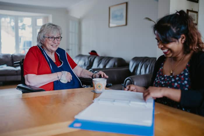 Care worker and client
