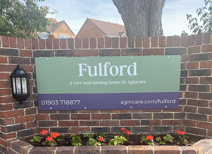 Fulford care home in Littlehampton West Sussex Sign