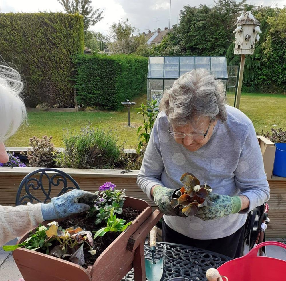Gardening at Lansdowne Care Home in Swindon