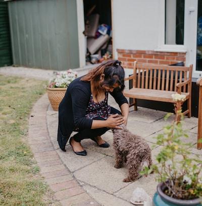 Live in care worker in garden