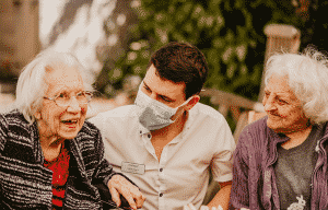 Care home residents with care worker