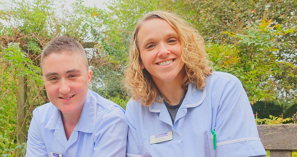 Care jobs - health care assistants in care home garden