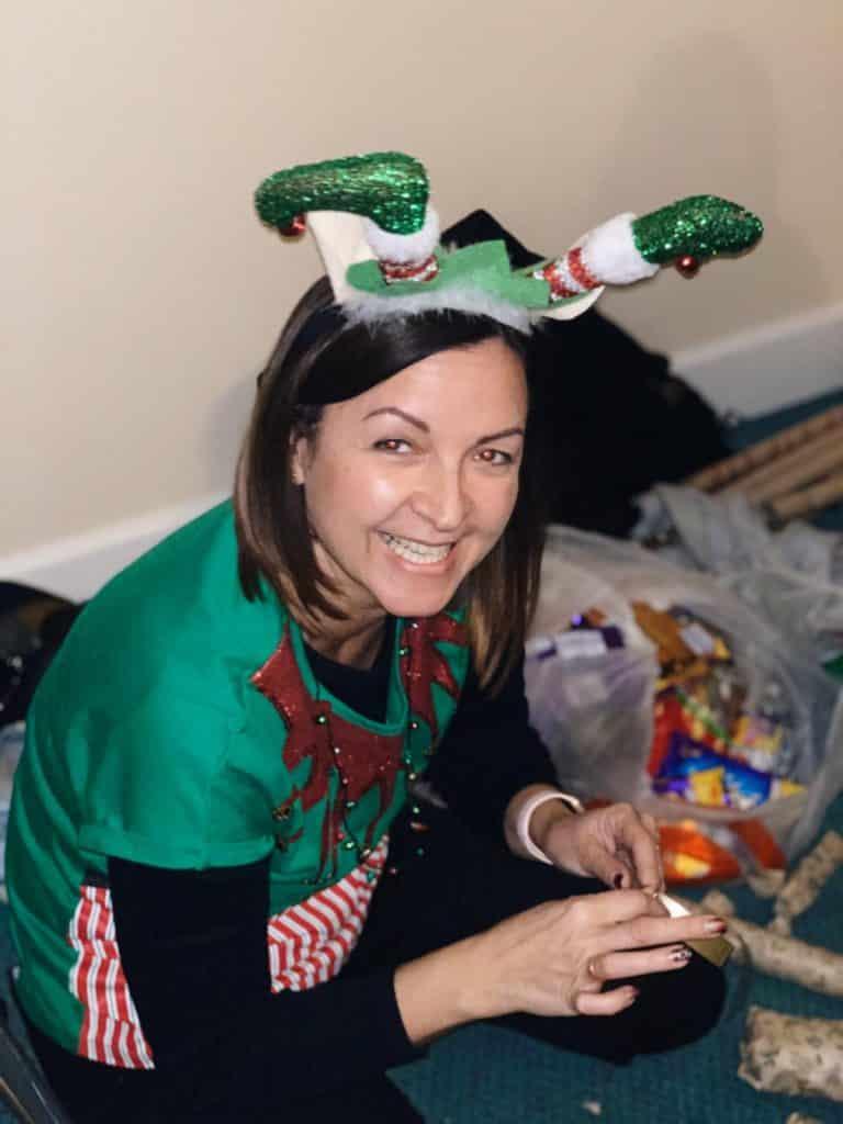 Lady wearing Christmas fancy dress