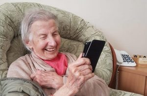 Care home resident video-conferencing with smartphone