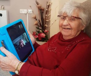 Care home resident video-conferencing with iPad