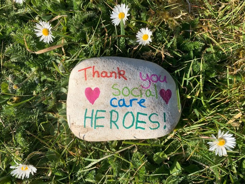 Stone decorated to say thank you to social care teams