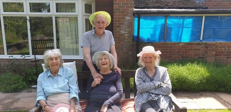 Residents in the garden at Cheriton Care Home
