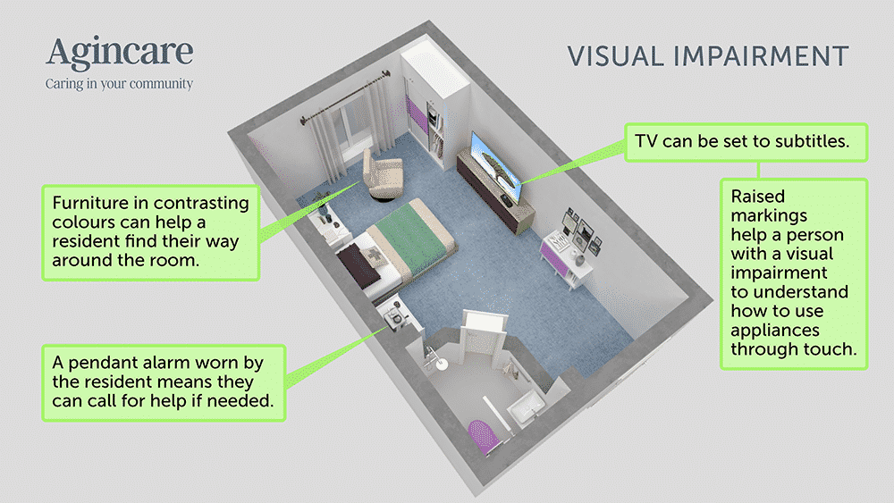 Care home room adaptations - visual impairment