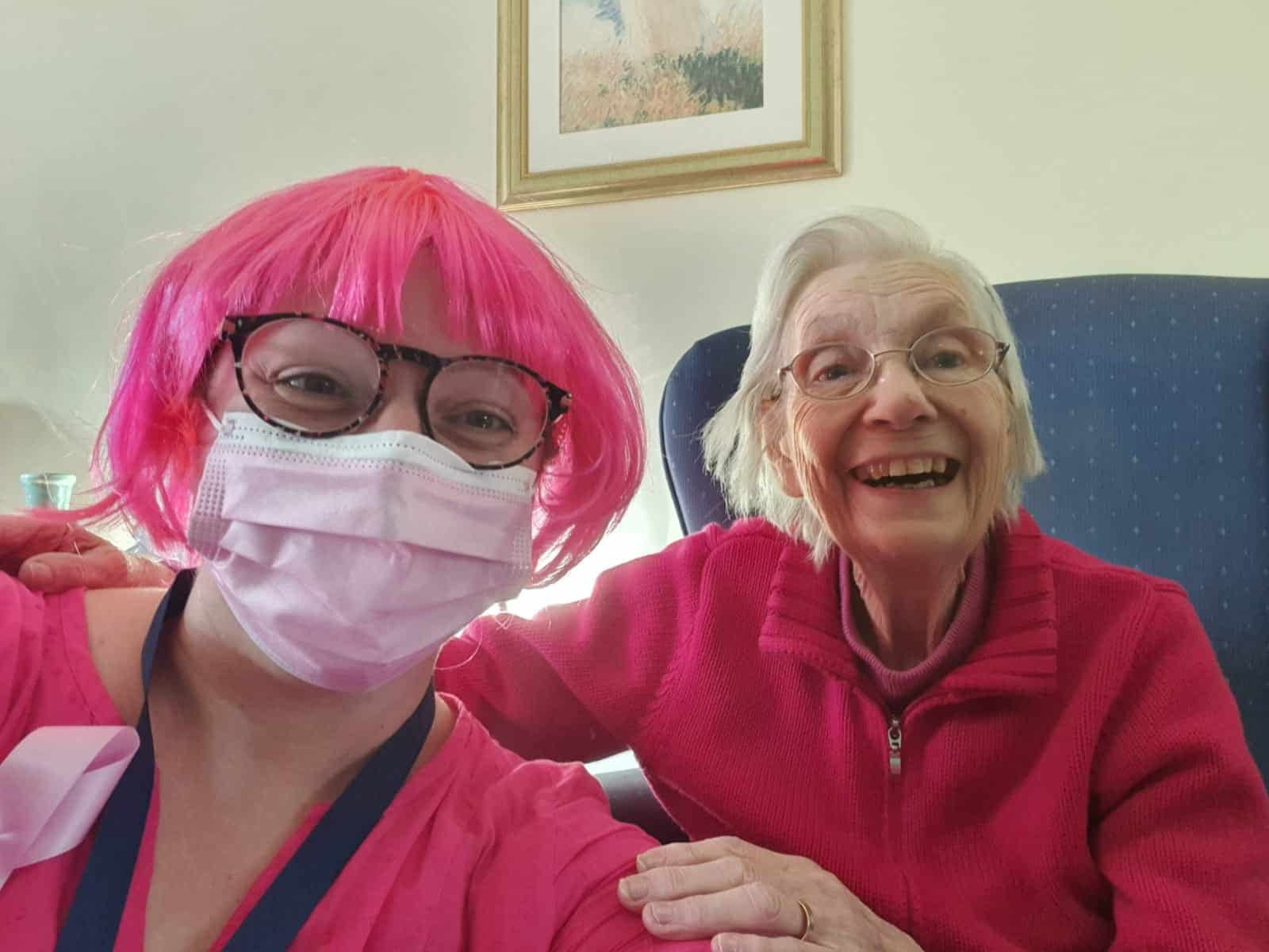 Agincare care worker wearing pink wig