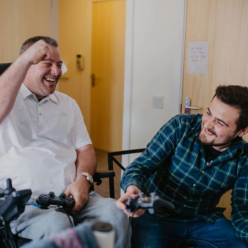 Younger live in care client with carer