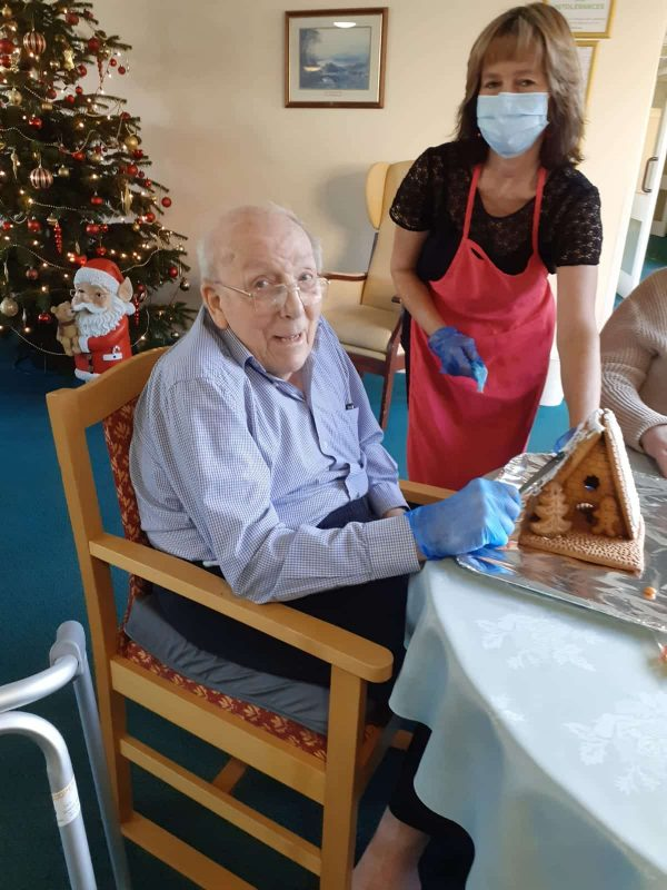Gingerbread house decorating at Lansdowne Hill Care Home in Swindon