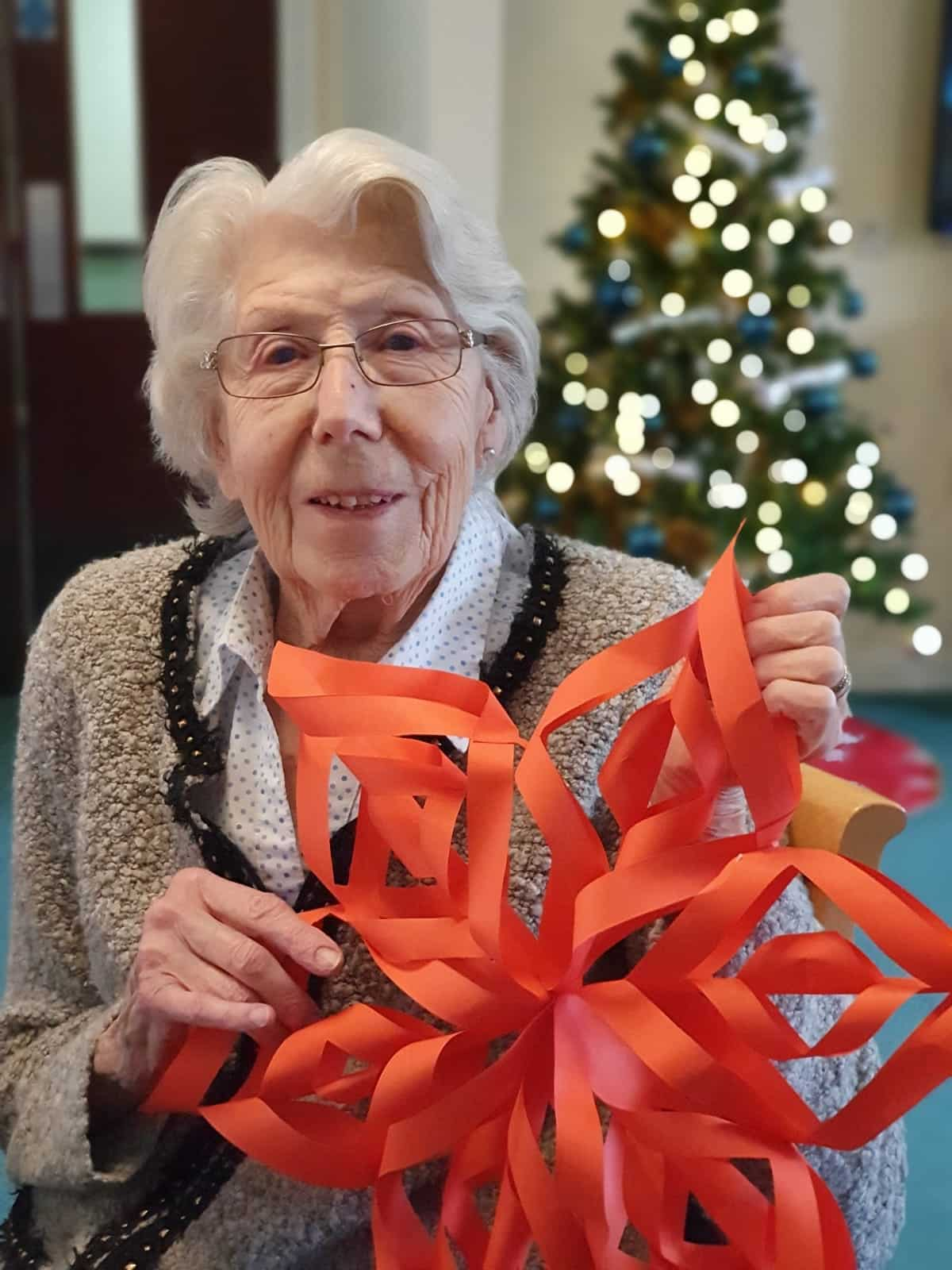 Homemade snowflake at Rochester Care Home in Kent