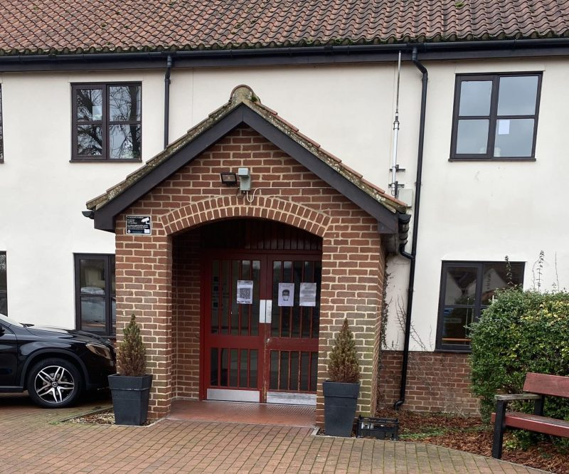 The main entrance at Sumbers Farm Close Extra Care