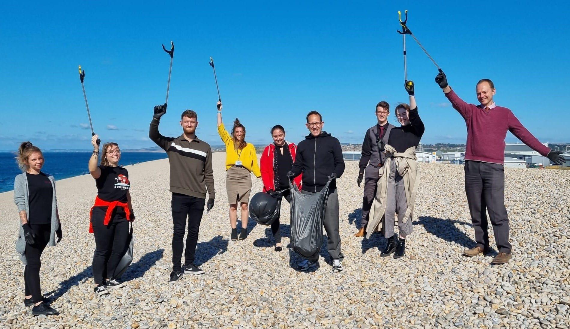 Agincare beach clean team on Chesil